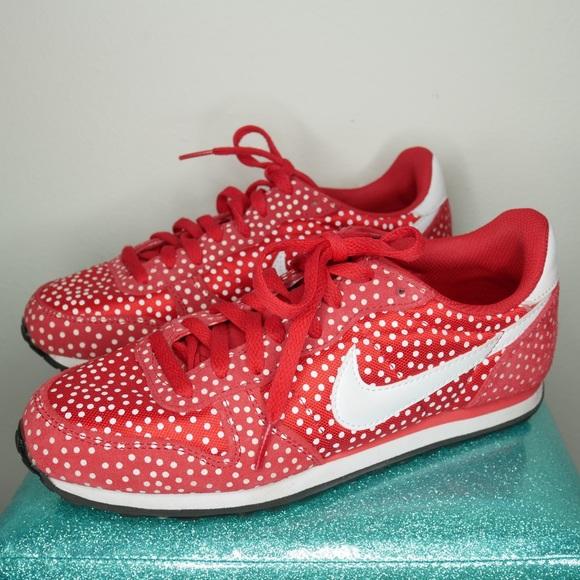 info for 09379 9b938 Red and white polka dot Nike genicco print sneaker.  M 5b4437876a0bb7b421b3dcfa
